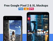 Free Google Pixel 2 & Pixel 2 XL Mockups in PSD & Ai