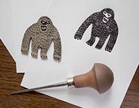 Linocut monkey