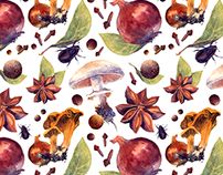 Autumn watercolor pattern