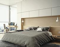 Penthouse Bedroom Interior Visualization