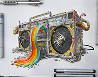Rainbow ghetto blaster