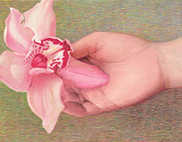 HOLDING A FLOWER Original Pastel Drawing