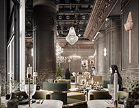 3D render of a restaurant in Qatar