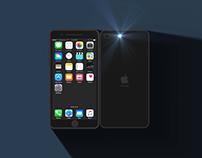 iPhone 3D flat shadow