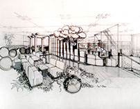 80s interior design - Japanese restaurant