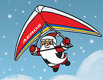 Hang gliding Santa, card design