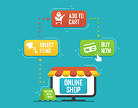 Online shop and e-commerce flat icons