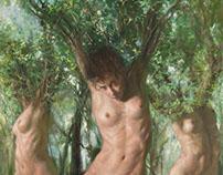 Las Ménades. Oil/Alkyd on canvas 80 x 180 cms