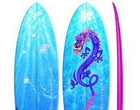 WATER DRAGON SURFBOARD ILLUSTRATION