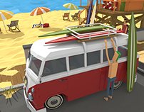 on the beach low poly