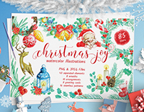 Christmas Joy Watercolor Illustrations