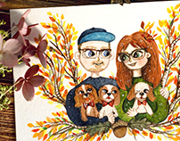 Custom watercolor portrait of family with Cavalier dogs