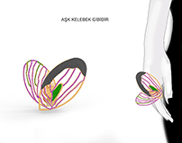 jewellery design, butterfly&heart ring