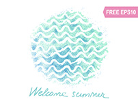 Free vector watercolor waves. Freebie