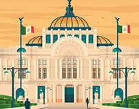 Mexico City Retro Travel Poster Illustration