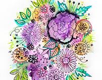 Floral watercolor doodle illustration