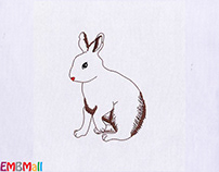CUDDLY AND FLUFFY WHITE RABBIT EMBROIDERY DESIGN