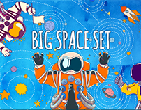 Big Space Set. Hand-drawn characterc and patterns