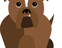 English Bulldog Vector Illustration