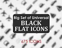 Black flat icon set