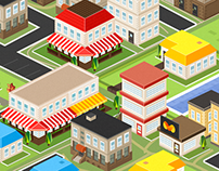 Vector isometric houses, free download