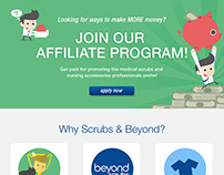 Scrubs & Beyond Affiliate Program landing page