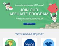 Scrubs & Beyond Affiliate Program landing page