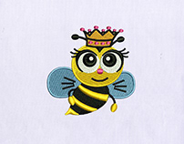 WIDE EYED LOVABLE QUEEN BEE EMBROIDERY DESIGN