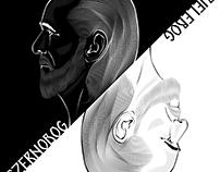 American Gods-Czernobog/Bielebog B&W Illustration