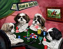Poker dog digital painting