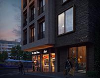Residential development in Oslo. Evening views