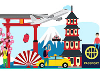 Travel to Japan flat Illustration