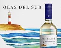 Etiqueta de vino Olas del Sur