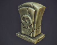 Graveyard stone 3D low poly
