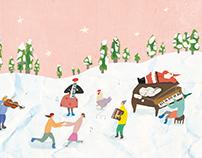 《冬日雪地上的孩子們》聖誕卡