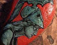 Atena- Painted stone