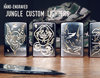 Hand-engraved Jungle Custom Lighters