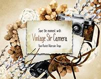 Vintage watercolor camera collection