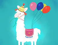 Cute Lama carrying balloons A4 FREE PRINT