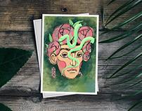 Frida Kahlo Illustration Postcard