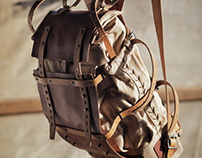 075/2019 canvas and leather backpack