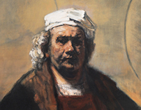 copy of Rembrandt self portrait with two cirlcles