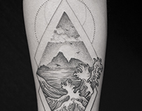 black tattoo graphics landscape