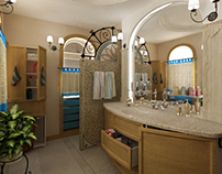 Bathroom design. Mediterranean style