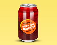 Free Soda Can Mockup PSD