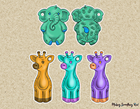 Cute animal children's teether toy concepts