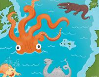 Sea Monsters of the Atlantic Ocean Map
