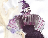 Fashion croquis in magenta and violet