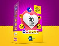 Pack 3D - Reações e Mockups para o Facebook