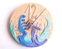 The Bubble Clock - wall clock made of polymer clay